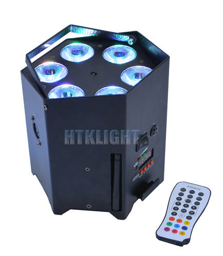6x10W Battery Powered Led Stage Lights , Wireless Dmx Lighting Built - In Glare Shield